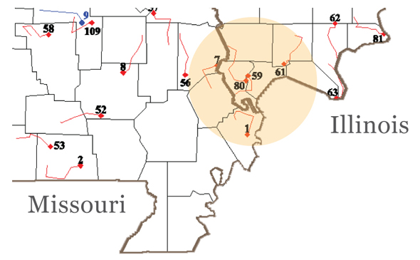 Selected BBS Routes: Missouri and Illinois