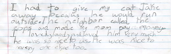 Letter from young child who loved Jake the cat