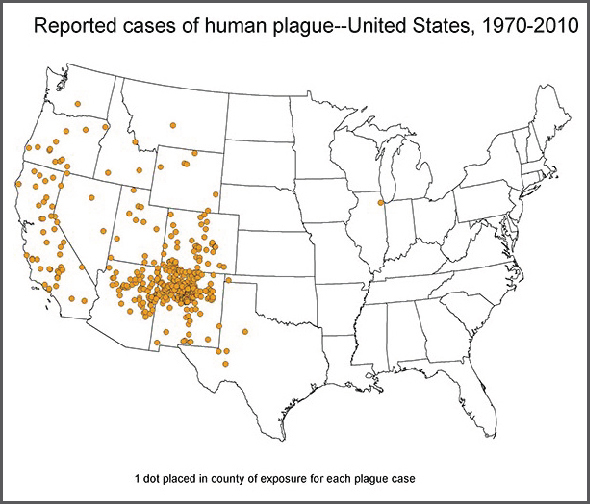 U.S. Map of Human Plage Cases, 1970–2010 (Source: CDC)