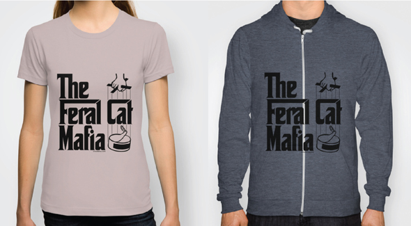 Feral Cat Mafia T-shirts and Hoodies  Light Colors Now Available